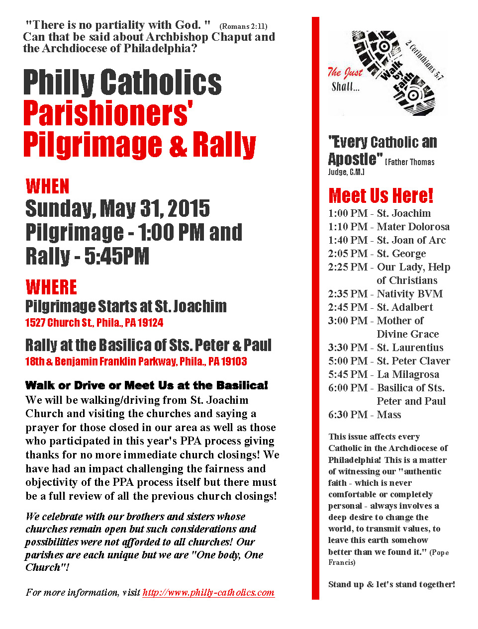 Parishioners' Pilgrimage Flyer
